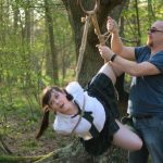 Shibari bondage suspension by WykD Dave & Clover on Wimbledon Common, London, England